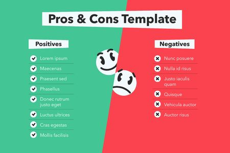 Green-red simple infographic for pros and cons with funny emoji symbols. Easy to use for your website or presentation.