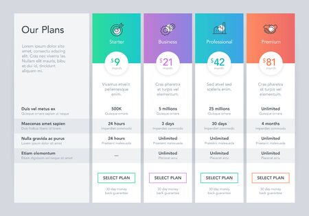 Modern pricing comparison table with four subscription plans and place for description. Flat infographic design template for website or presentation. Çizim