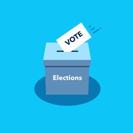 Simple illustration of ballot box and voting paper. Flat design, easy to use for your website or presentation.