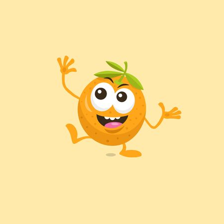 Illustration of cute happy orange mascot with big smile isolated on light background. Flat design style for your mascot branding.