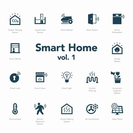 Smart home icon set volume 1 isolated on light background. Contains such icons Smart Heating System, Thermometer, Liquid Level Sensor, Motion Detection Sensor and more. Ilustración de vector