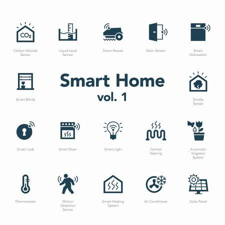 Smart home icon set volume 1 isolato su sfondo chiaro. Contiene tali icone Sistema di riscaldamento intelligente, termometro, sensore di livello del liquido, sensore di rilevamento del movimento e altro ancora. Vettoriali