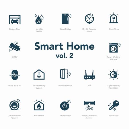 Smart home icon set volume 2 isolated on light background. Garage Door, Light Intensity Regulation, Voice Assistant, Humidity Sensor and more.