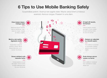 Infographic for 6 tips to use mobile banking safely with smart phone red credit card and fishing hook, isolated on light background. Easy to use for your website or presentation.  イラスト・ベクター素材