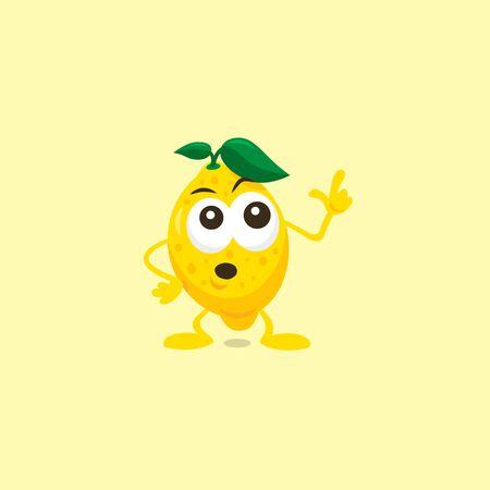 Lemon mascot is afraid of something strange. Flat design style for your mascot branding.
