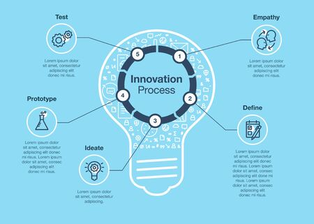 Simple infographic for innovation step process with light bulb as main symbol - blue version. Easy to use for your website or presentation.  イラスト・ベクター素材