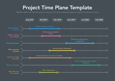 Business Project Time Plan Template - Time Version - Dark Version. Easy to use for your website or presentation.  イラスト・ベクター素材