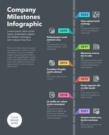Modern business infographic for company milestones timeline template. Easy to use for your website or presentation.