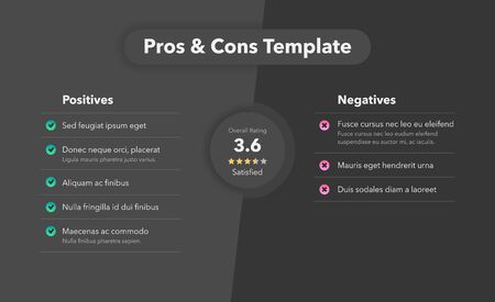 Simple infographic for pros and cons. Easy to use for your website or presentation isolated on dark background. 일러스트