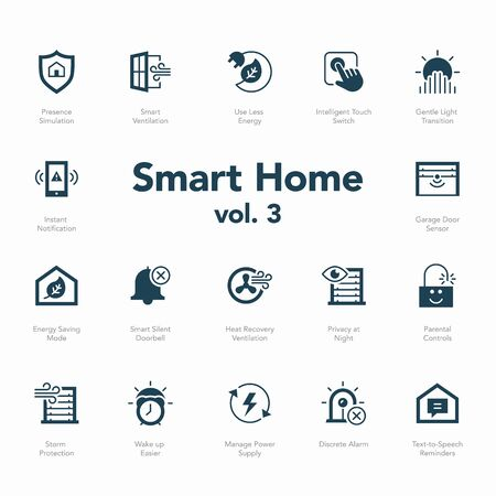 Smart home icon set volume 2 isolated on light background. Contains such icons Smart Ventilation, Text-to-Speech Reminders, Use Less Energy, Parental Controls and more. Vektoros illusztráció