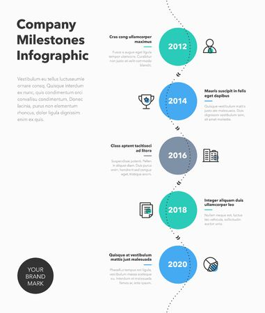 Simple business infographic for company milestones timeline with colorful circles and line icons. Easy to use for your website or presentation.