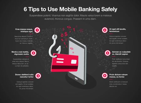 Infographic for 6 tips to use mobile banking safely with smart phone red credit card and fishing hook, isolated on dark background. Easy to use for your website or presentation.