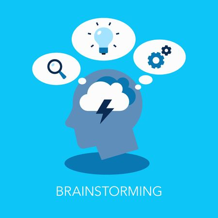 Brainstorming Flat Symbol With Head As A Main Symbol And Thinking Bubbles. Easy to use for your website or presentation.