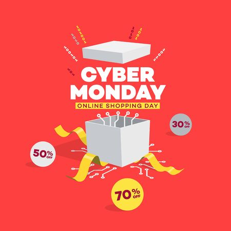 Cyber Monday online shopping day symbol with opened gift box. Easy to use for your sale promotion.