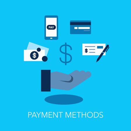 Payment methods flat symbol with hand and dollar symbol. Easy to use for your website or presentation.