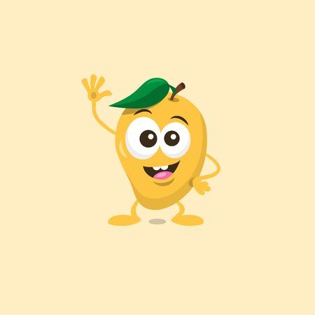 Illustration of cute happy mango mascot greeting someone with big smile isolated on light background. Flat design style for your mascot branding.  イラスト・ベクター素材