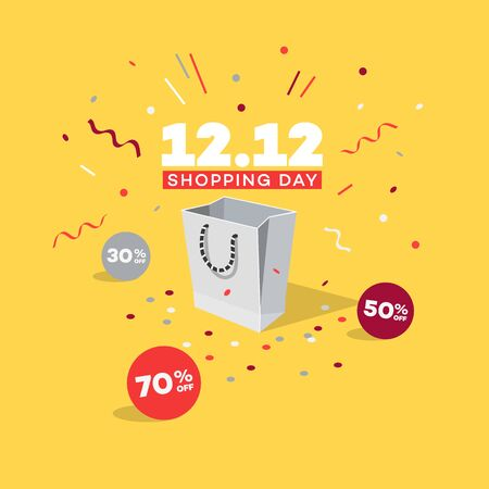 Special offer 12. 12 Shopping day discount symbol with shopping bag, discount labels and confetti. Easy to use for your global shopping day sale promotion.