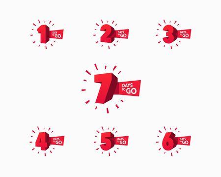 Number of days left to go countdown for sale, promotion, poster or banner. Vector Illustration Keywords: