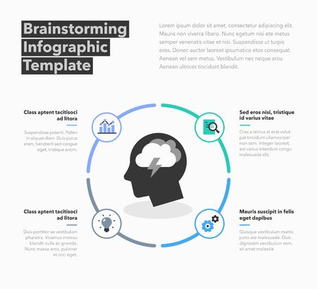 Brainstorming infographic template with head symbol and place for your content. Flat design, easy to use for your website or presentation.  イラスト・ベクター素材