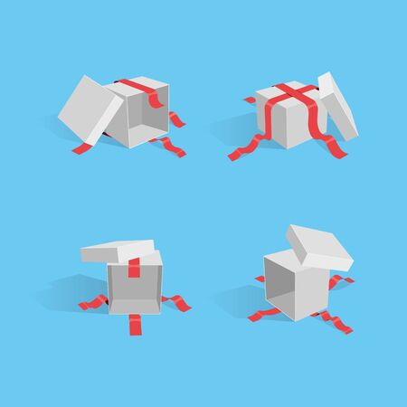 Illustration of four different opened gift packages with red ribbons. Easy to use for your website, banners or any advertising.