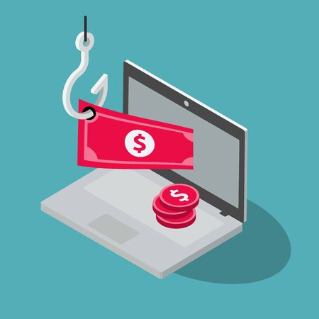 Online Banking Theft Symbol with Laptop, Red Banknote and Fishing Hook Isolated on Blue Background. Flat design, easy to use for your website or presentation. Standard-Bild - 134853204