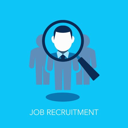 Job Recruitment Flat Symbol With Magnifier Looking For New Employee Or Key Person. Easy to use for your website or presentation.