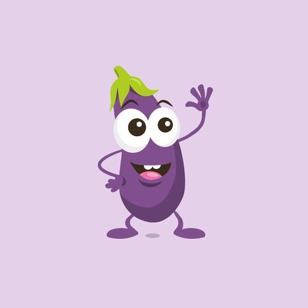 Illustration of Cute Happy Eggplant Mascot Greeting Someone With Big Smile Isolated On Light Background. Flat design style for your mascot branding.  イラスト・ベクター素材