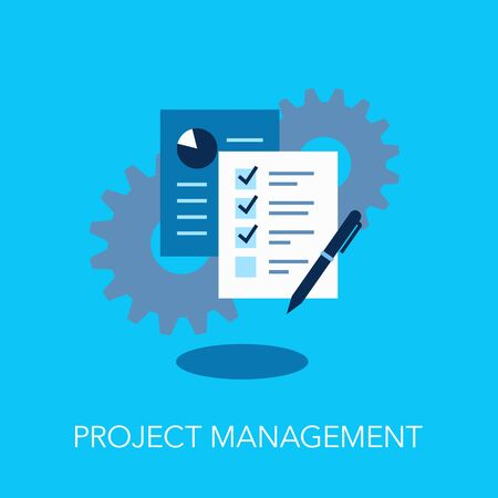 Project Management Flat Symbol With Gears And Documents Over It. Easy to use for your website or presentation.  イラスト・ベクター素材