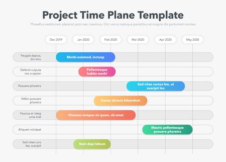 Modern Business Project Time Plan Template with Project Tasks in Time Intervals. Easy to use for your website or presentation. Ilustracja
