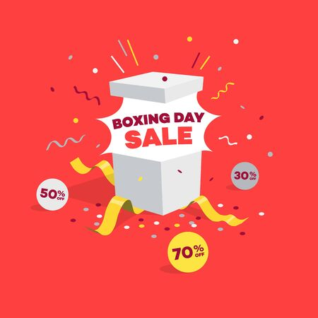 Special Boxing Day Sale Symbol with Open Gift and Discount Labels. Easy to use for your sale promotion.