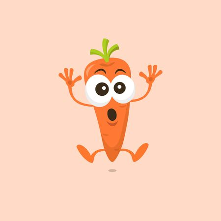 Cute carrot scared mascot isolated on white background. Flat design style for your mascot branding.  イラスト・ベクター素材