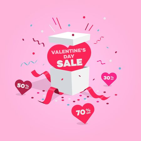Special Valentines Day sale symbol with open gift and hearts. Easy to use for your design with transparent shadows.