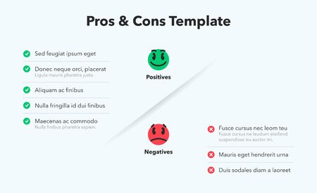 Simple infographic for pros and cons with funny emoji symbols. Easy to use for your website or presentation isolated on a light background.