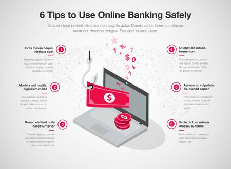 Infographic for 6 tips to use online banking safely with laptop, red banknote and fishing hook, isolated on light background. Easy to use for your website or presentation.