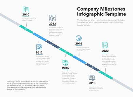 Business infographic for company timeline template with line icons. Easy to use for your website or presentation.