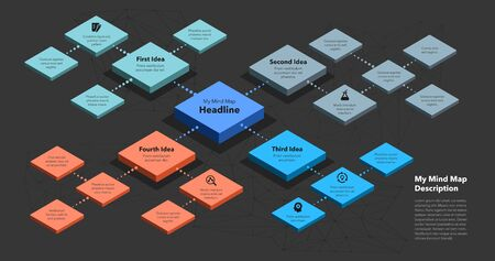 Simple infographic for isometric mind map visualization template - dark version. Easy to use for your design or presentation.