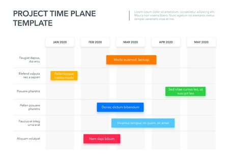 Modern Business Project Time Plan Template with Project Tasks in Time Intervals. Easy to use for your website or presentation.  イラスト・ベクター素材