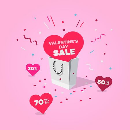 Special Valentines day sale symbol with shopping bag and discount labels. Easy to use for your design with transparent shadows.