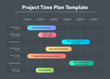 Modern Business Project Time Plan Template - Time Version - Dark Version. Easy to use for your website or presentation.
