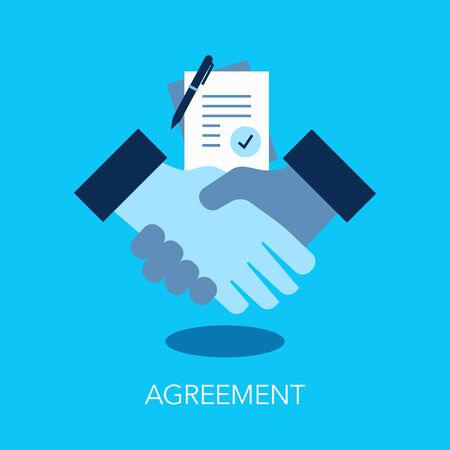 Agreement flat symbol with handshake and documents. Easy to use for your website or presentation.