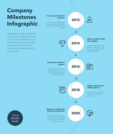 Modern business infographic for company milestones timeline template with line icons - blue version. Easy to use for your website or presentation.