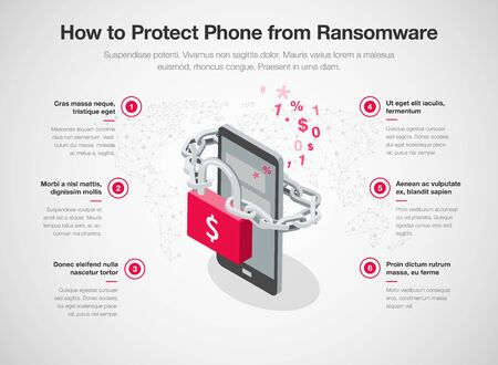 Simple infographic for 6 tips to protect phone from ransomware attacks with smartphone, red padlock and chain, isolated on light background. Easy to use for your website or presentation.  イラスト・ベクター素材