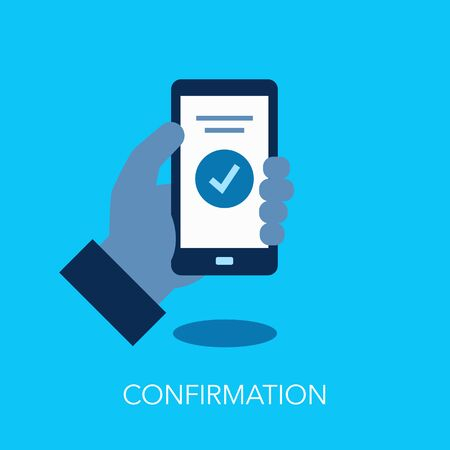 Confirmation symbol with hand holding smartphone and verification symbol. Easy to use for your website or presentation.