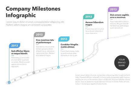 Modern business infographic for curved road map template with pointers. Easy to use for your website or presentation.  イラスト・ベクター素材