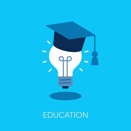 Education flat symbol with graduation cap and light bulb. Easy to use for your website or presentation.  イラスト・ベクター素材