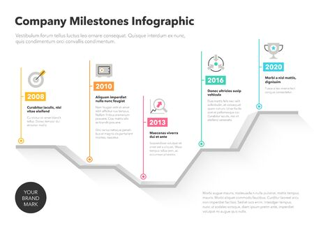 Company milestones timeline template with colorful pointers on a dramatic looking curve. Easy to use for your website or presentation.