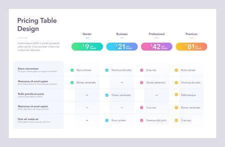 Modern pricing table design with four colorful subscription plans. Flat infographic design template for website or presentation. Vektoros illusztráció
