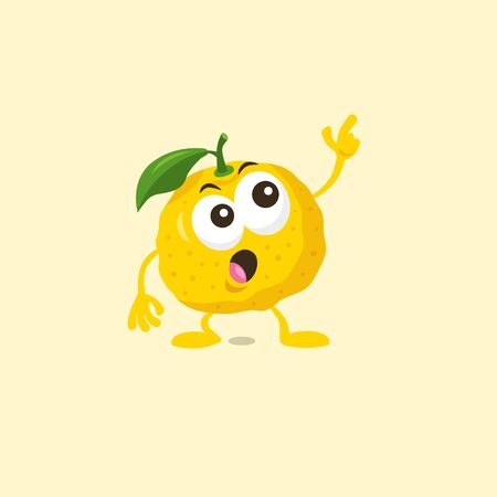 Illustration of cute staring yuzu mascot isolated on light background. Flat design style for your mascot branding.