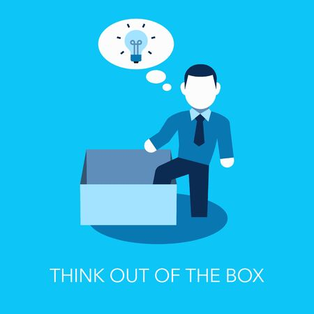 Thinking out of the box metaphor with empty box and one thinking person outside of the box. Flat design, easy to use for your website or presentation.
