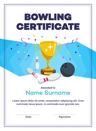 Modern bowling certificate diploma with winning cup and place for your content. 일러스트